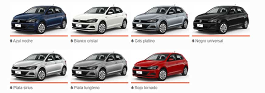 Colores disponibles para el modelo de Autoahorro VOLKSWAGEN NUEVO POLO