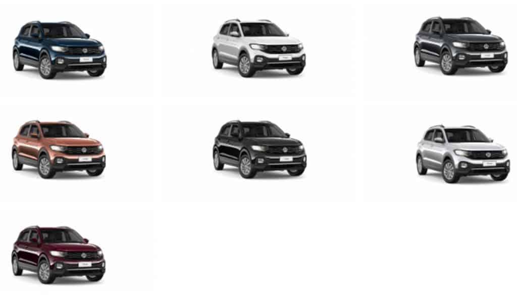 COLORES Volkswagen T-Cross Plan de ahorro Autos en cuotas: Azul Egeo - Rojo Carmín - Plata Sargas - Gris Platino – Negro Universal - Namibia Bronce - Blanco Puro.