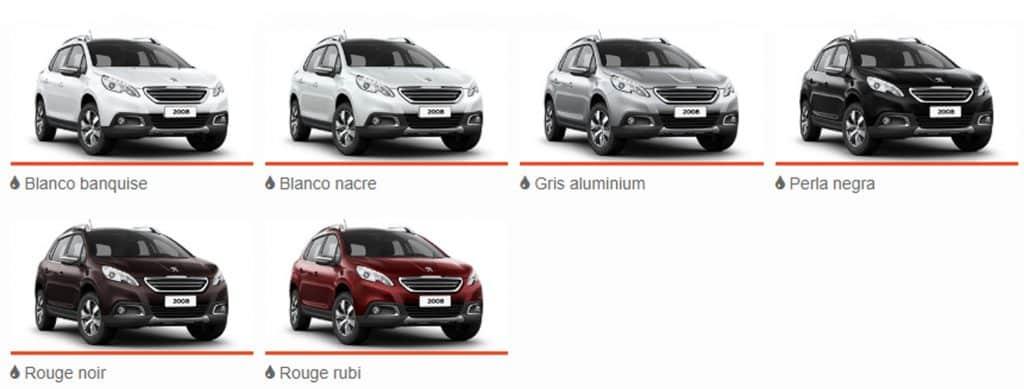 Plan de Ahorro Peugeot 2008, Colores Disponibles
