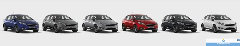 Colores disponibles Ford Focus Plan Nacional Ford, Plan Ovalo, autos en cuotas.