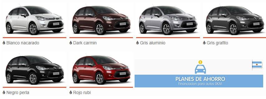 Colores Disponibles Citroen C3 2020 - Plan Nacional Autos en cuotas