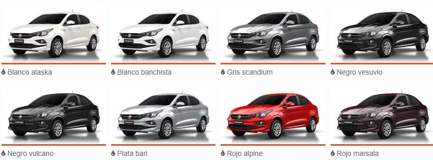 Colores disponible Plan Fiat Cronos