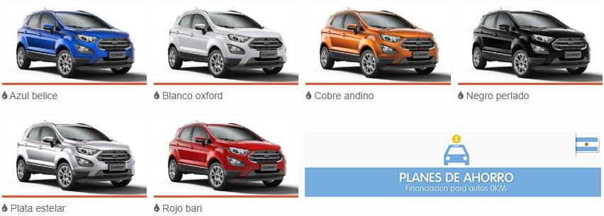 Colores disponibles Ford Ecosport Plan Nacional Ford, autos en cuotas.