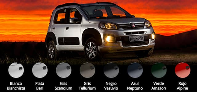 Colores disponibles Fiat UNO WAY Plan Nacional Fiat, autos en cuotas.