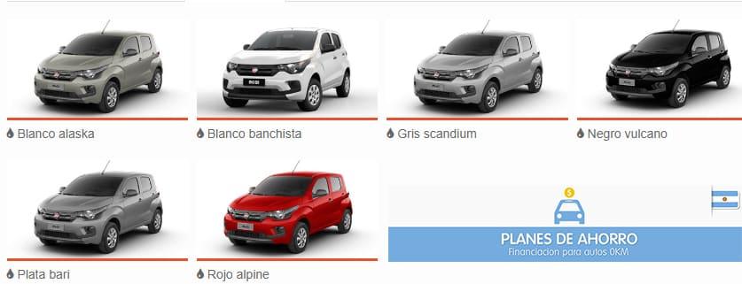 Colores disponibles Fiat Moby Plan Nacional Fiat, autos en cuotas.