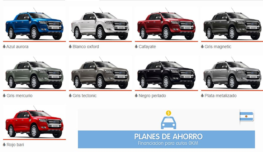 Colores disponibles Ford RANGER Plan Nacional Ford, autos en cuotas.